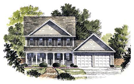 Colonial, Country, Southern House Plan 94107 with 3 Beds, 3 Baths, 2 Car Garage Elevation
