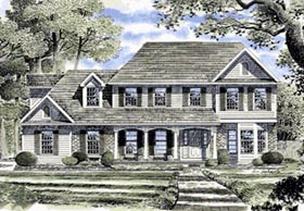 Colonial Country European House Plan 94113 Elevation