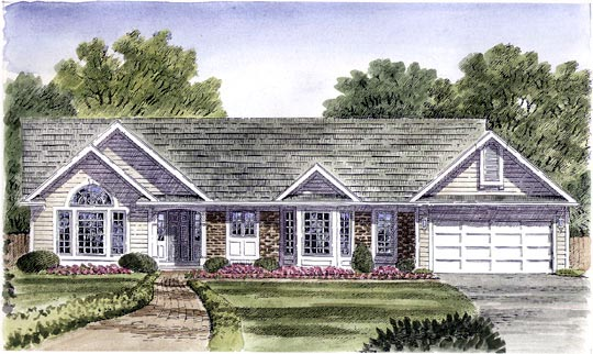 Ranch House Plan 94118 with 3 Beds, 2 Baths, 2 Car Garage Elevation