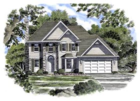 House Plan 94120 | European Style Plan with 1873 Sq Ft, 3 Bedrooms, 3 Bathrooms, 2 Car Garage Elevation
