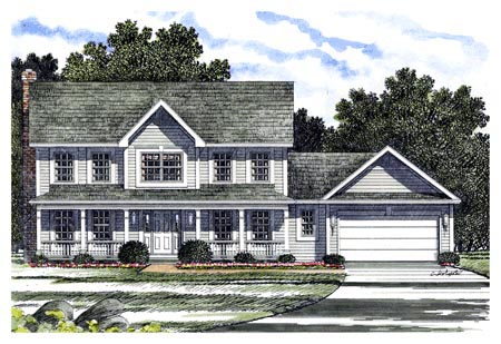 Colonial Southern Elevation of Plan 94121