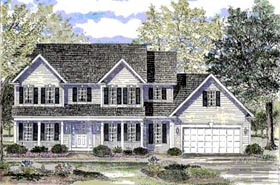Colonial Country Southern House Plan 94137 Elevation