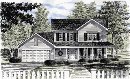 House Plan 94138 | Country Style Plan with 1576 Sq Ft, 3 Bedrooms, 2 Bathrooms, 2 Car Garage Elevation