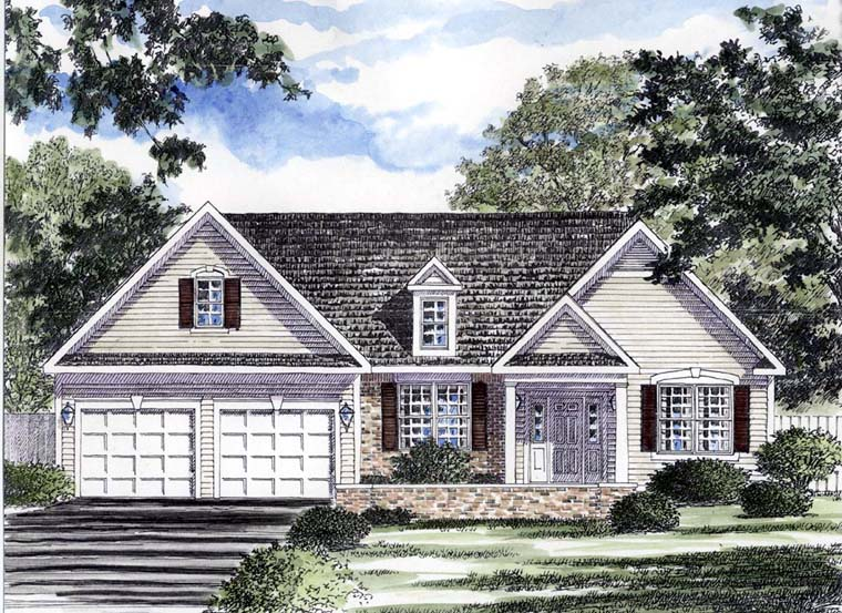 Ranch , Traditional House Plan 94148 with 3 Beds, 2 Baths, 2 Car Garage Elevation