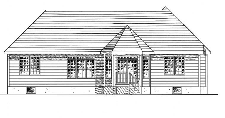 Ranch , Traditional House Plan 94148 with 3 Beds, 2 Baths, 2 Car Garage Rear Elevation