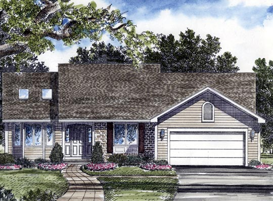 Ranch House Plan 94150 with 3 Beds, 2 Baths, 2 Car Garage Elevation