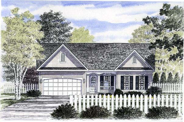 Ranch House Plan 94151 with 2 Beds, 2 Baths, 2 Car Garage Elevation