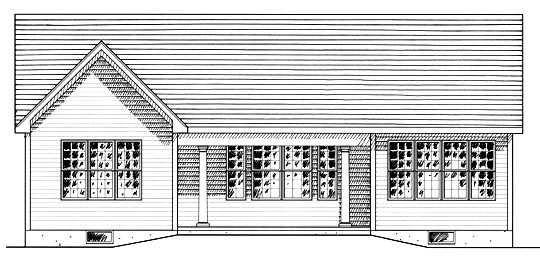 Ranch House Plan 94151 with 2 Beds, 2 Baths, 2 Car Garage Rear Elevation