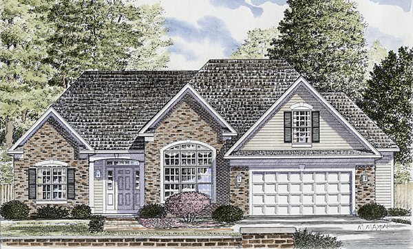 One-Story, Ranch House Plan 94155 with 3 Beds, 2 Baths, 2 Car Garage Elevation