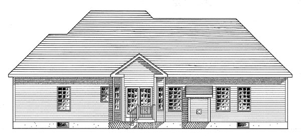 One-Story, Ranch House Plan 94155 with 3 Beds, 2 Baths, 2 Car Garage Rear Elevation