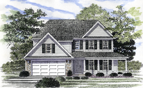 House Plan 94156 | Colonial Style Plan with 1696 Sq Ft, 3 Bedrooms, 3 Bathrooms, 2 Car Garage Elevation