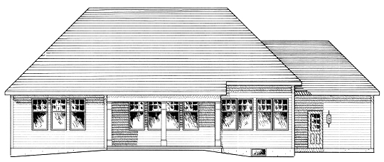 One-Story , Ranch , Rear Elevation of Plan 94157