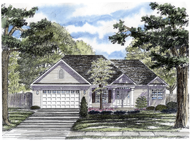 One-Story, Ranch House Plan 94159 with 2 Beds, 2 Baths, 2 Car Garage Elevation