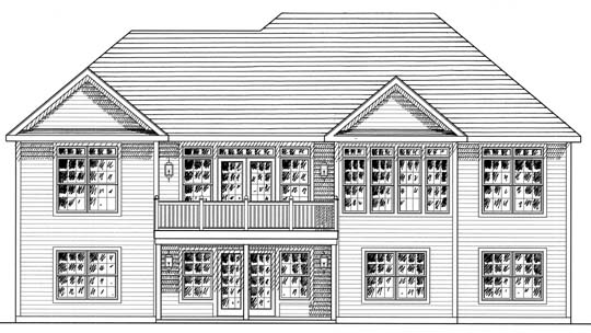 One-Story, Ranch House Plan 94159 with 2 Beds, 2 Baths, 2 Car Garage Rear Elevation