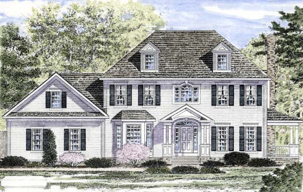 Traditional , Colonial House Plan 94167 with 4 Beds, 3 Baths, 2 Car Garage Elevation