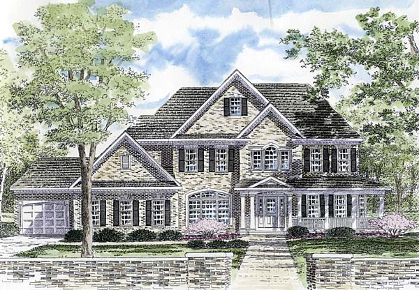 House Plan 94170 | Country Traditional Style Plan with 3859 Sq Ft, 4 Bedrooms, 5 Bathrooms, 3 Car Garage Elevation
