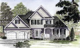 Country House Plan 94173 with 3 Beds, 3 Baths, 2 Car Garage Elevation