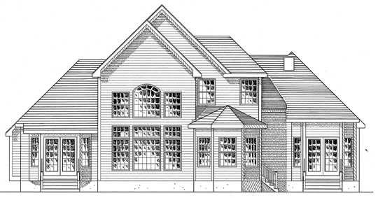 Country Rear Elevation of Plan 94173