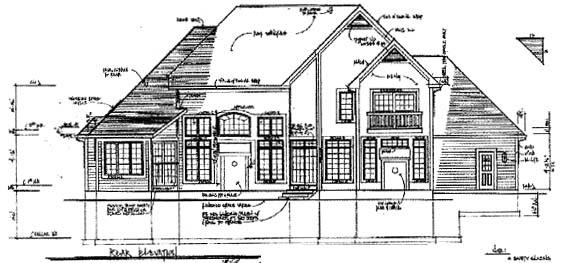 European Tudor Rear Elevation of Plan 94174