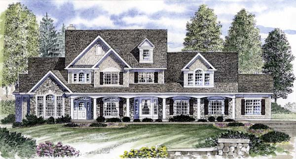 Country House Plan 94176 with 4 Beds, 3 Baths, 3 Car Garage Elevation