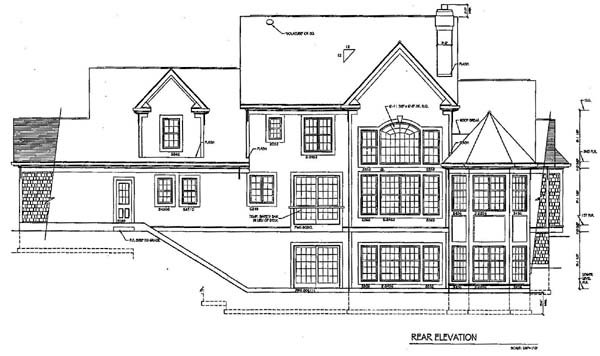 Country Rear Elevation of Plan 94176