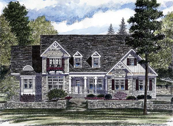 Country, European House Plan 94179 with 3 Beds , 3 Baths , 3 Car Garage Elevation