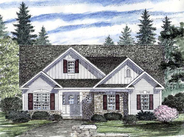 House Plan 94181 | Country Craftsman Ranch Style Plan with 1705 Sq Ft, 2 Bedrooms, 2 Bathrooms, 2 Car Garage Elevation