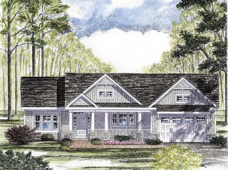 Cottage Craftsman Ranch House Plan 94182 Elevation