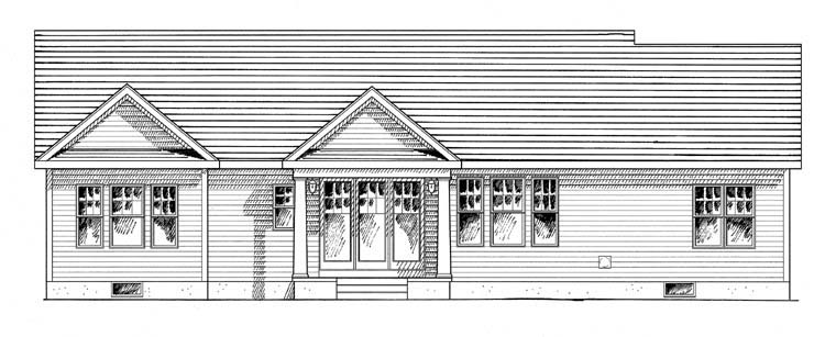 Cottage Craftsman Ranch House Plan 94182 Rear Elevation