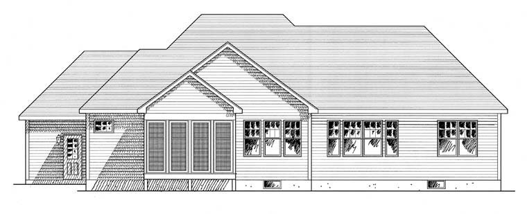 Cottage Ranch Traditional Rear Elevation of Plan 94183