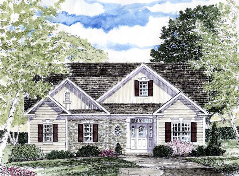 Cape Cod Coastal Cottage Country Ranch House Plan 94184 Elevation