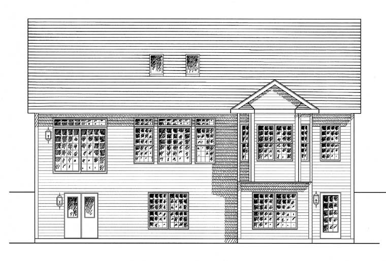 Cape Cod Coastal Cottage Country Ranch House Plan 94184 Rear Elevation
