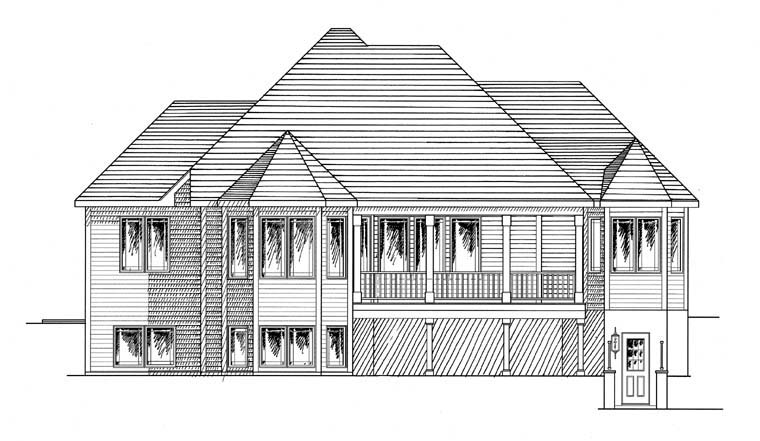 House Plan 94187 | Cottage Ranch Traditional Style Plan with 2980 Sq Ft, 4 Bedrooms, 3 Bathrooms, 2 Car Garage Rear Elevation