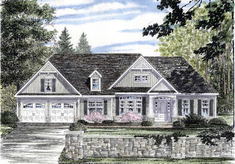 Cape Cod, Cottage, Country, Ranch House Plan 94188 with 3 Beds , 2 Baths , 2 Car Garage Elevation
