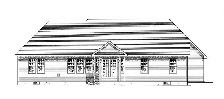 Cape Cod, Cottage, Country, Ranch House Plan 94188 with 3 Beds , 2 Baths , 2 Car Garage Rear Elevation