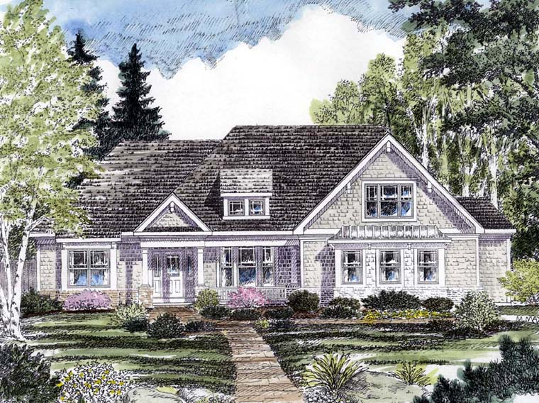 Cottage, Country, Craftsman, Ranch, Traditional House Plan 94193 with 2 Beds, 3 Baths, 2 Car Garage Elevation