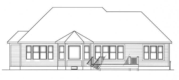 Cottage, Country, Craftsman, Ranch, Traditional House Plan 94193 with 2 Beds, 3 Baths, 2 Car Garage Rear Elevation