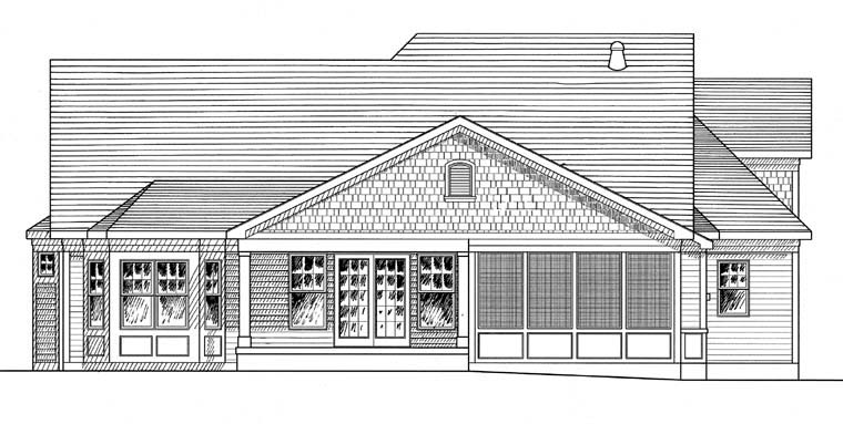 Coastal Country Traditional House Plan 94194 Rear Elevation