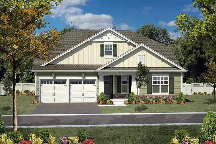 Bungalow , Cottage , Country House Plan 94195 with 3 Beds, 2 Baths, 2 Car Garage Elevation