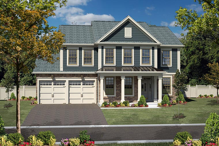 Traditional , Colonial House Plan 94197 with 4 Beds, 3 Baths, 2 Car Garage Elevation