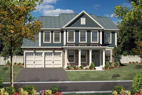 Colonial , Traditional House Plan 94198 with 4 Beds, 4 Baths, 2 Car Garage Elevation
