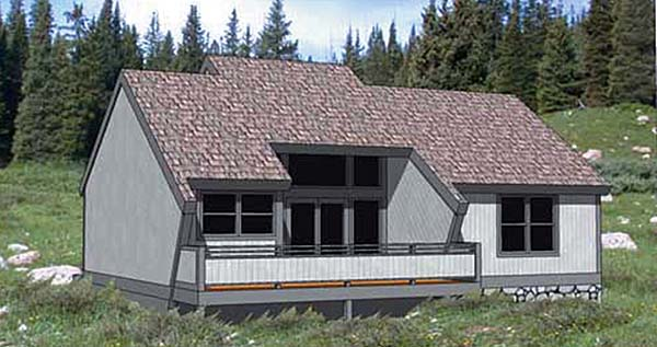 Cabin Contemporary Elevation of Plan 94300