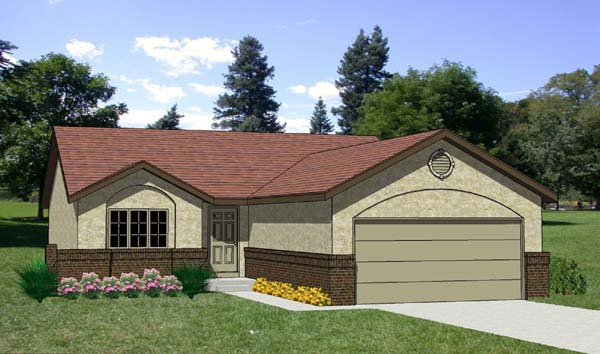 Country, One-Story House Plan 94302 with 3 Beds, 2 Baths, 2 Car Garage Elevation