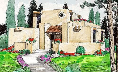 Santa Fe, Southwest House Plan 94304 with 3 Beds, 2 Baths Elevation