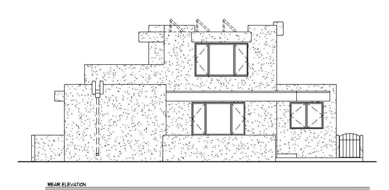Santa Fe Southwest House Plan 94304 Rear Elevation