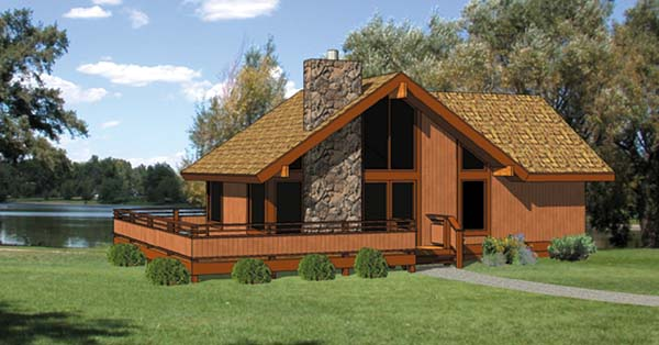 Cabin House Plan 94307 with 2 Beds, 2 Baths Front Elevation