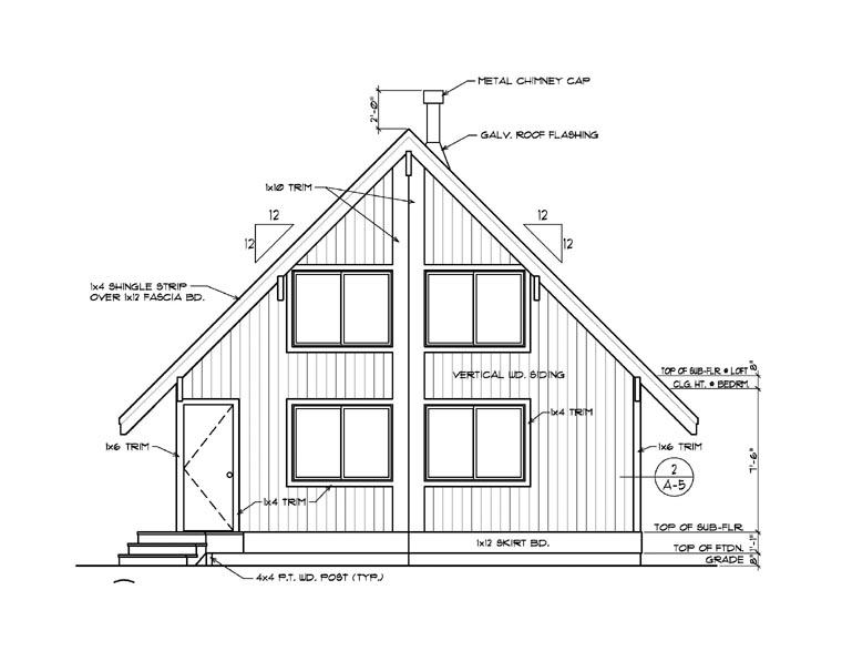 Cabin Contemporary House Plan 94308 Rear Elevation