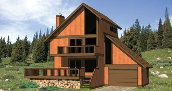 Cabin Contemporary House Plan 94310 Elevation