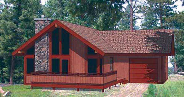 Cabin , Contemporary House Plan 94320 with 2 Beds, 2 Baths, 1 Car Garage Elevation