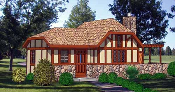 Cabin, Cottage, One-Story House Plan 94328 with 1 Beds, 1 Baths Elevation